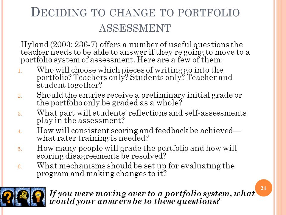 Deciding to change to portfolio assessment