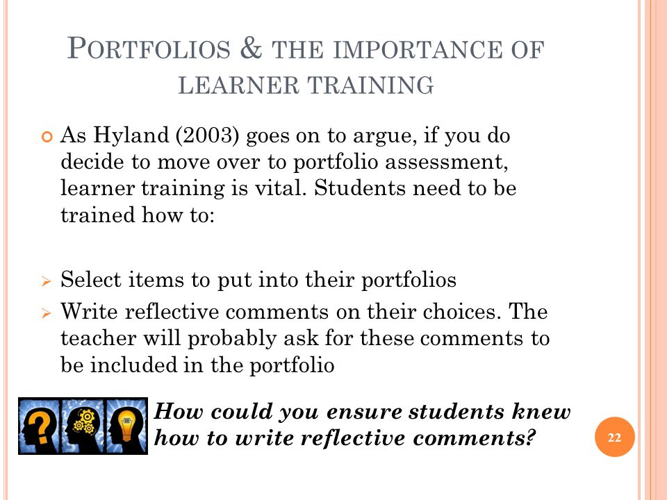 Portfolios & the importance of learner training