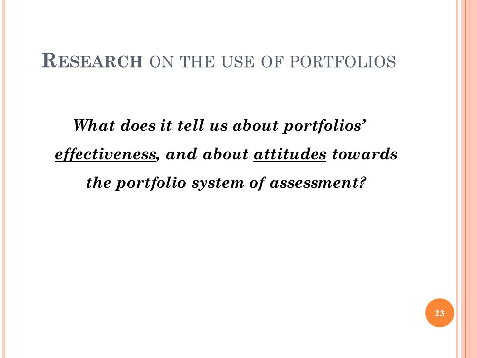 Research on the use of portfolios