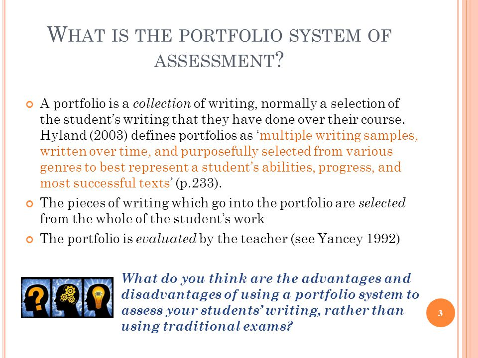 What is the portfolio system of assessment