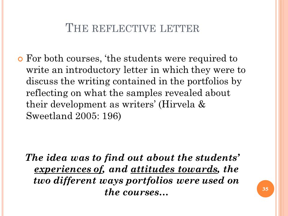 The reflective letter