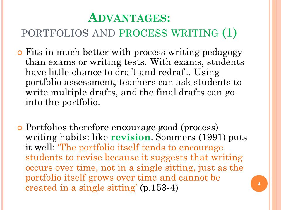 Advantages: portfolios and process writing (1)