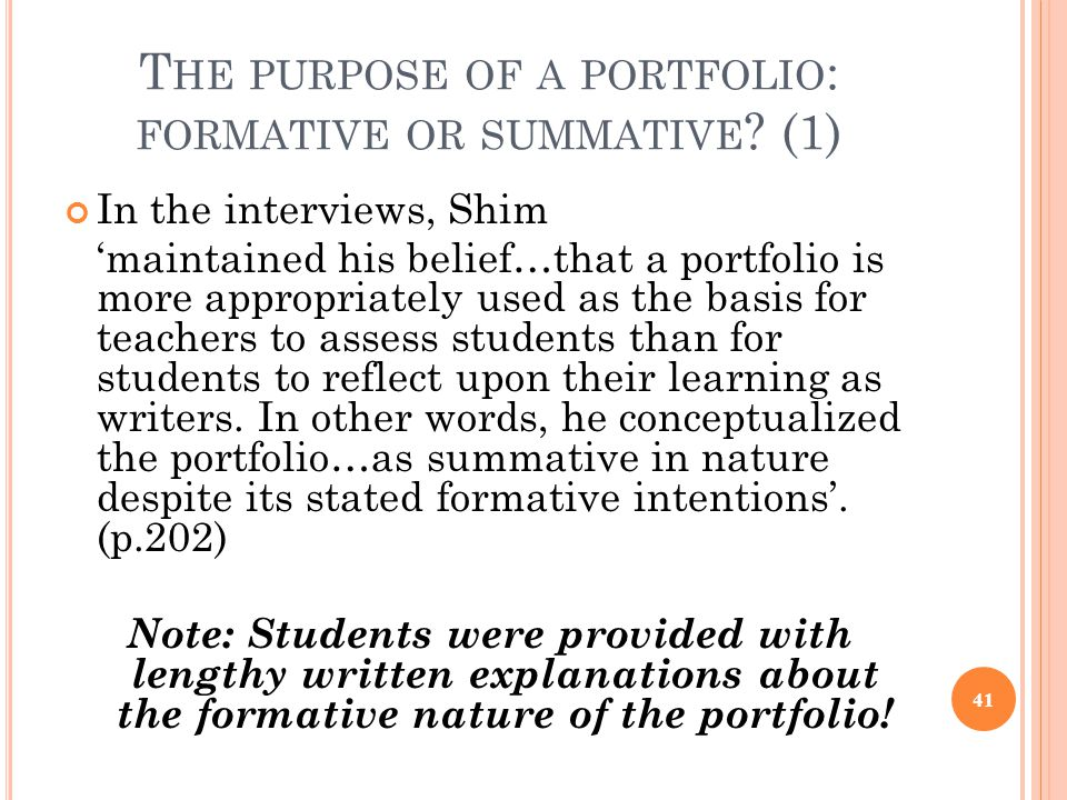 The purpose of a portfolio: formative or summative (1)