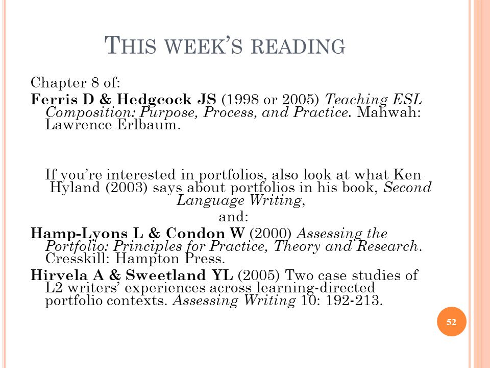 This week's reading