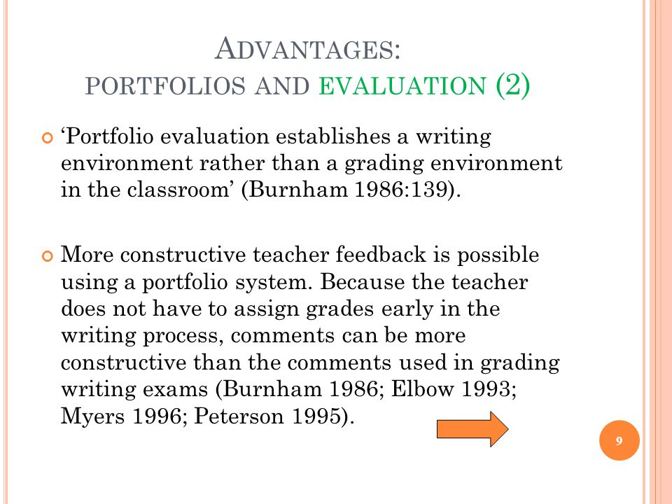 Advantages: portfolios and evaluation (2)