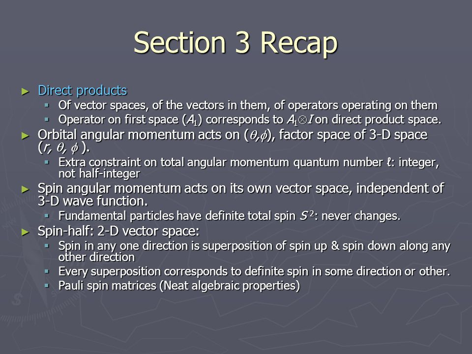 Section 3 Recap Direct products