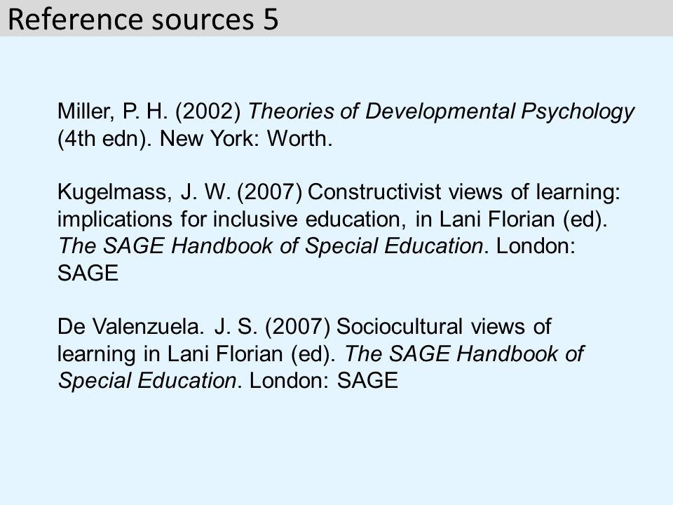 Reference sources 5 Miller, P. H. (2002) Theories of Developmental Psychology (4th edn). New York: Worth.