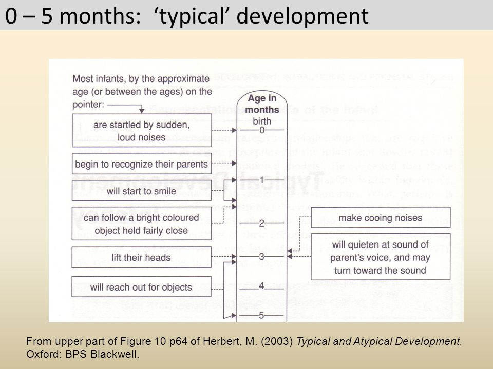 0 – 5 months: 'typical' development