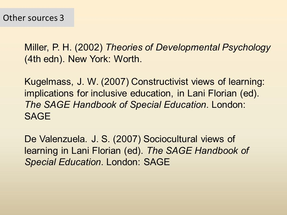 Other sources 3 Miller, P. H. (2002) Theories of Developmental Psychology (4th edn). New York: Worth.