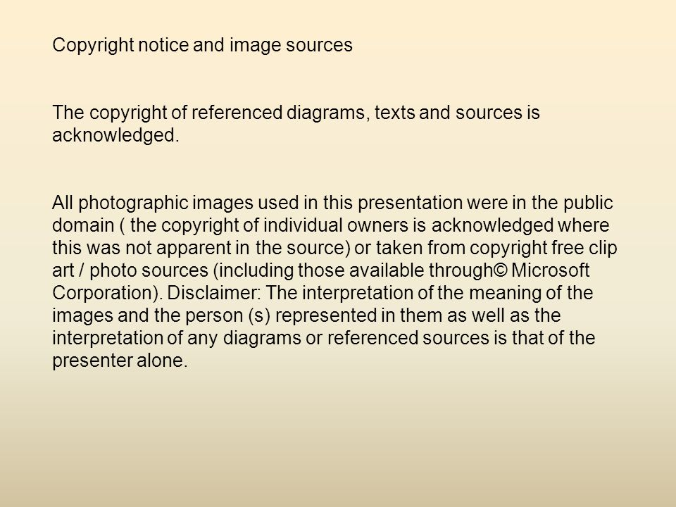 Copyright notice and image sources