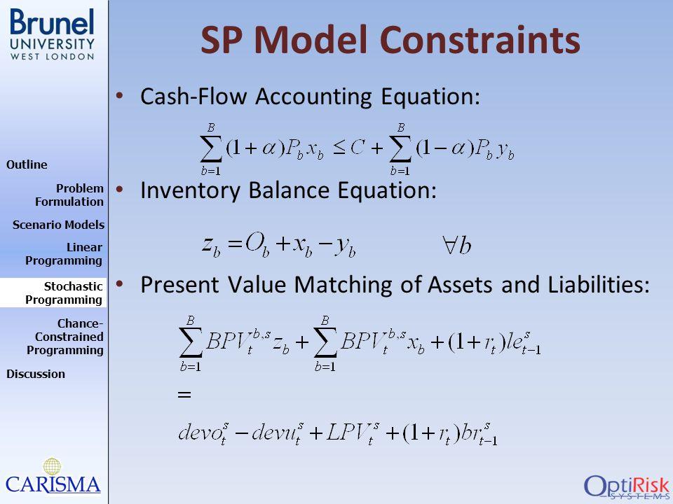 SP Model Constraints Cash-Flow Accounting Equation: