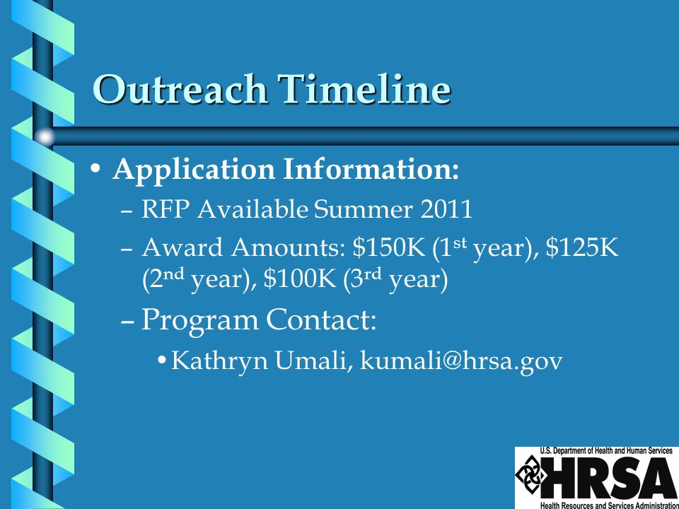 Outreach Timeline Application Information: Program Contact: