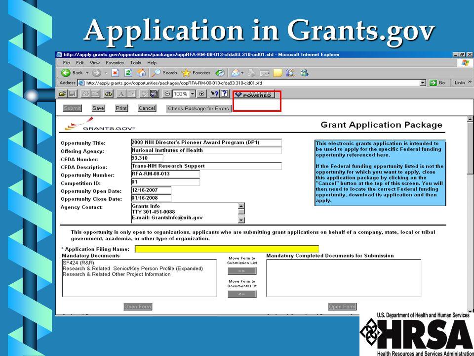 Application in Grants.gov