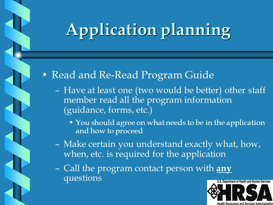 Application planning Read and Re-Read Program Guide