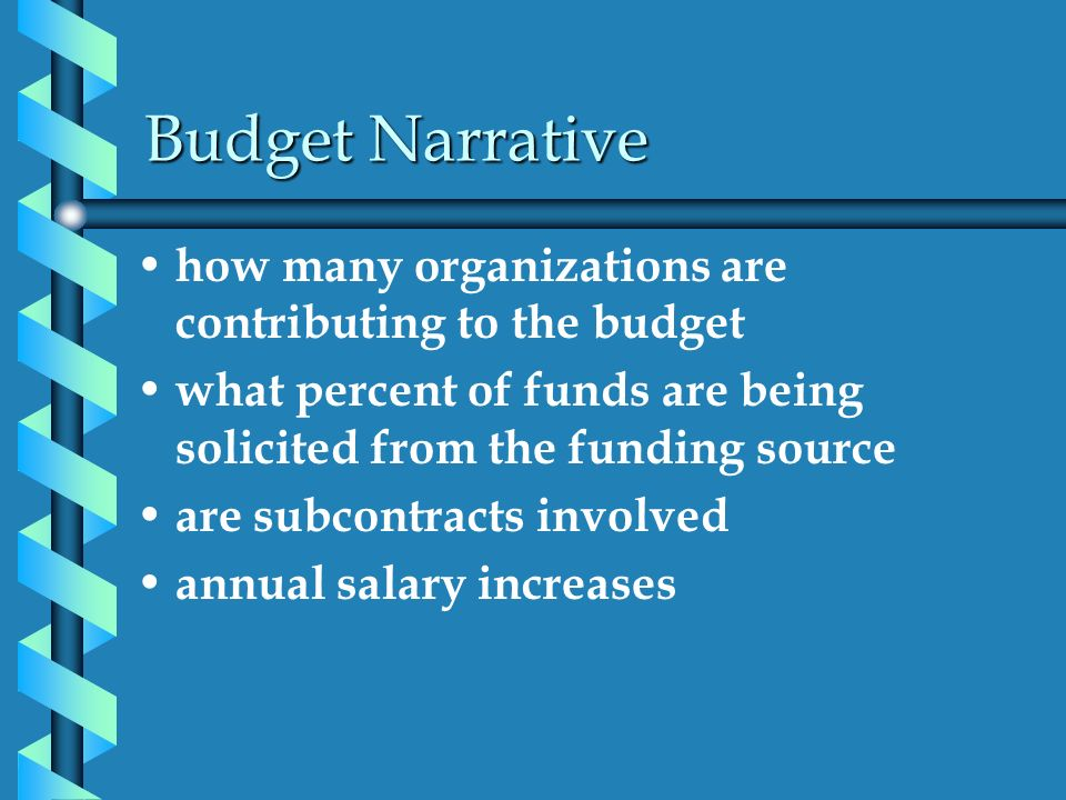 Budget Narrative how many organizations are contributing to the budget