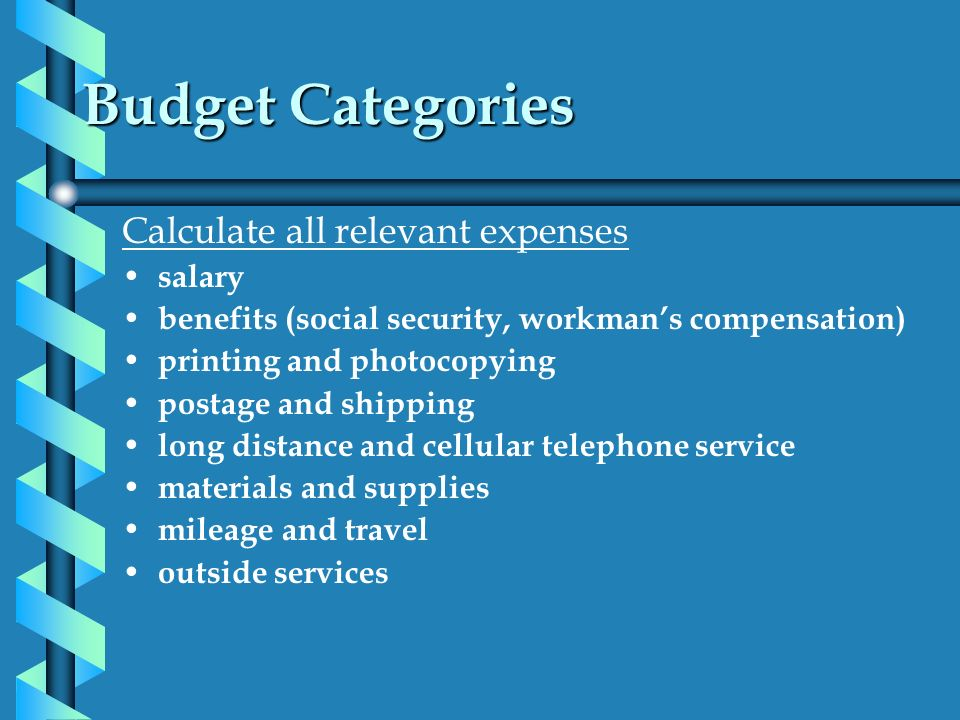 Budget Categories Calculate all relevant expenses salary