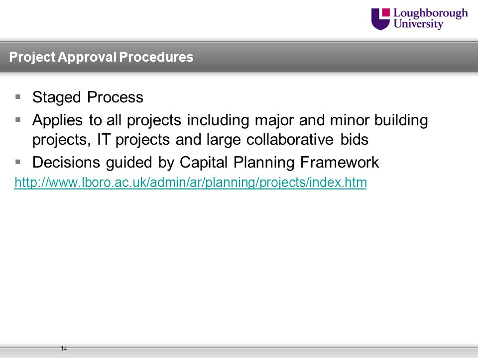 Project Approval Procedures
