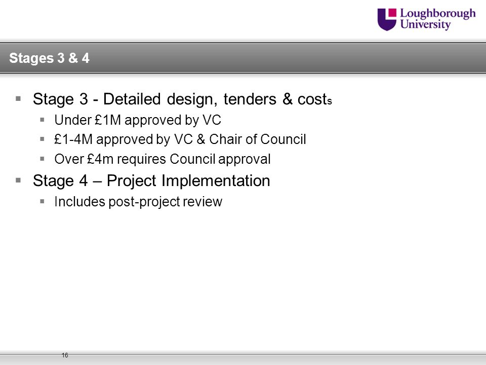 Stage 3 - Detailed design, tenders & costs