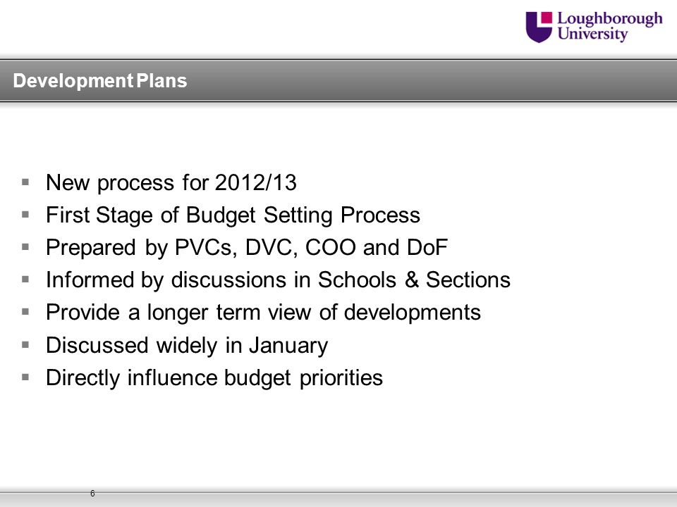 First Stage of Budget Setting Process