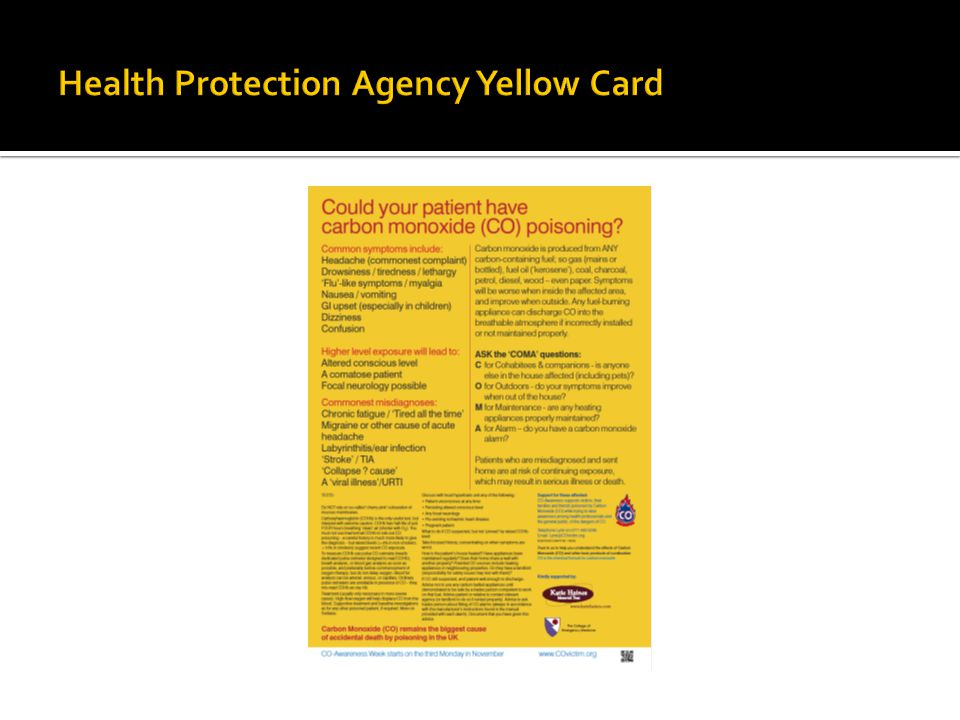 Health Protection Agency Yellow Card