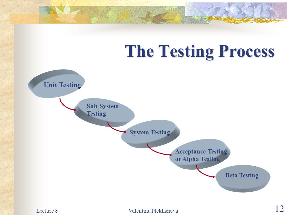 The Testing Process Unit Testing Sub-System Testing System Testing