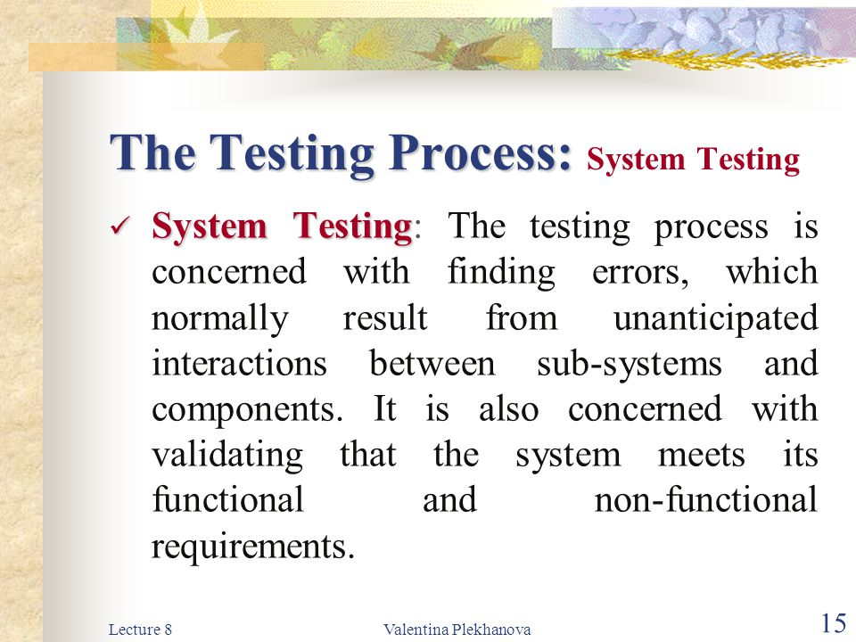 The Testing Process: System Testing