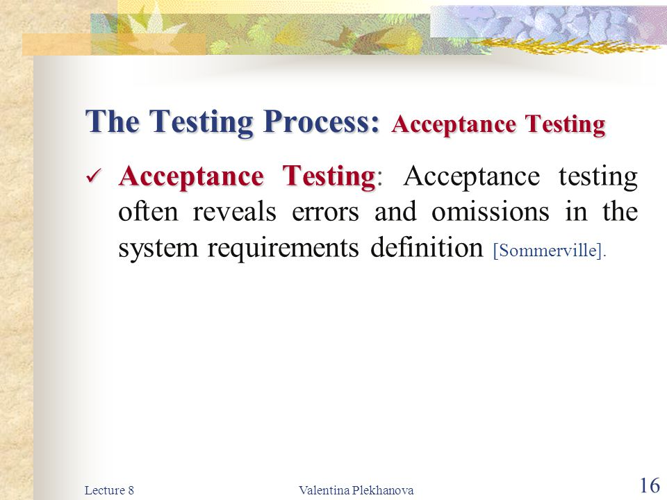 The Testing Process: Acceptance Testing