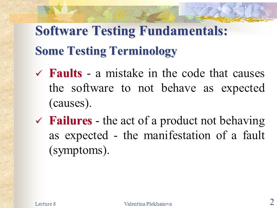 Software Testing Fundamentals: Some Testing Terminology