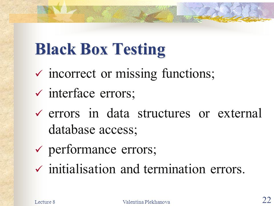 Black Box Testing incorrect or missing functions; interface errors;