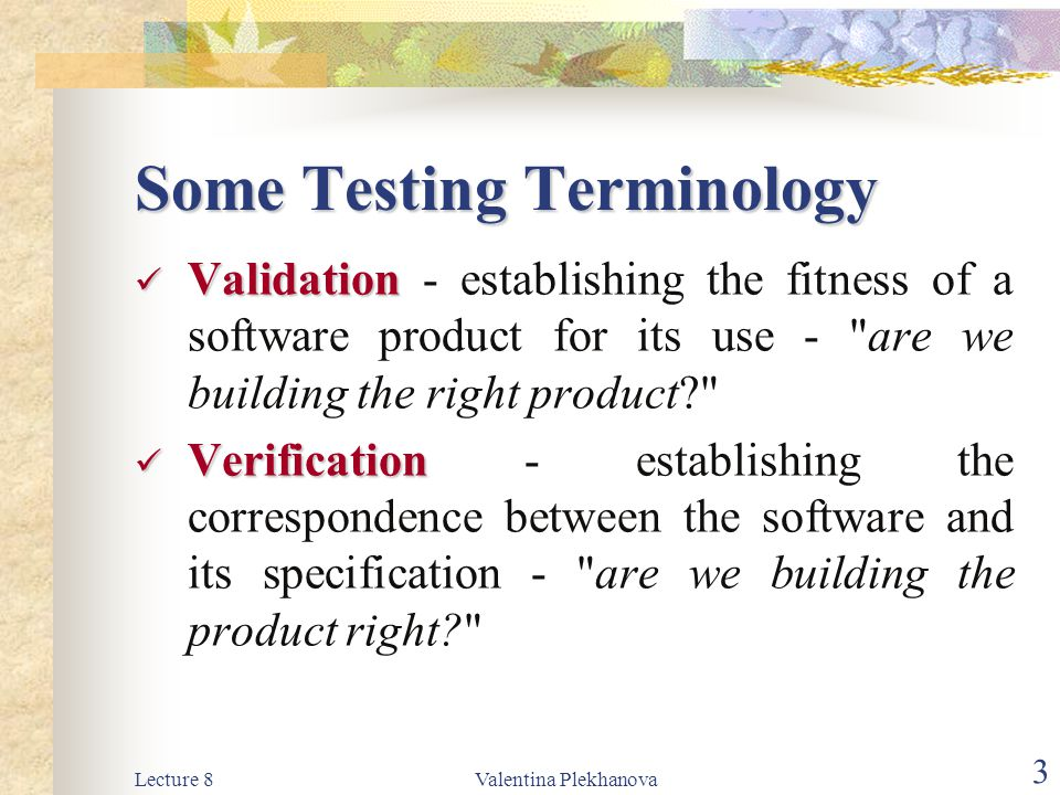 Some Testing Terminology
