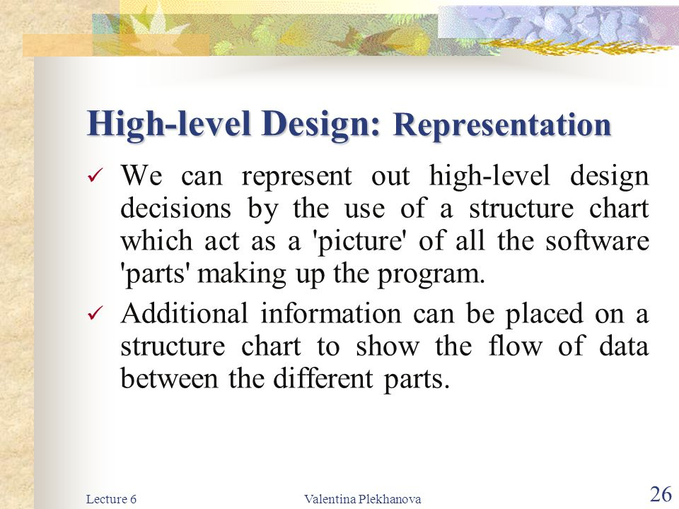 High-level Design: Representation