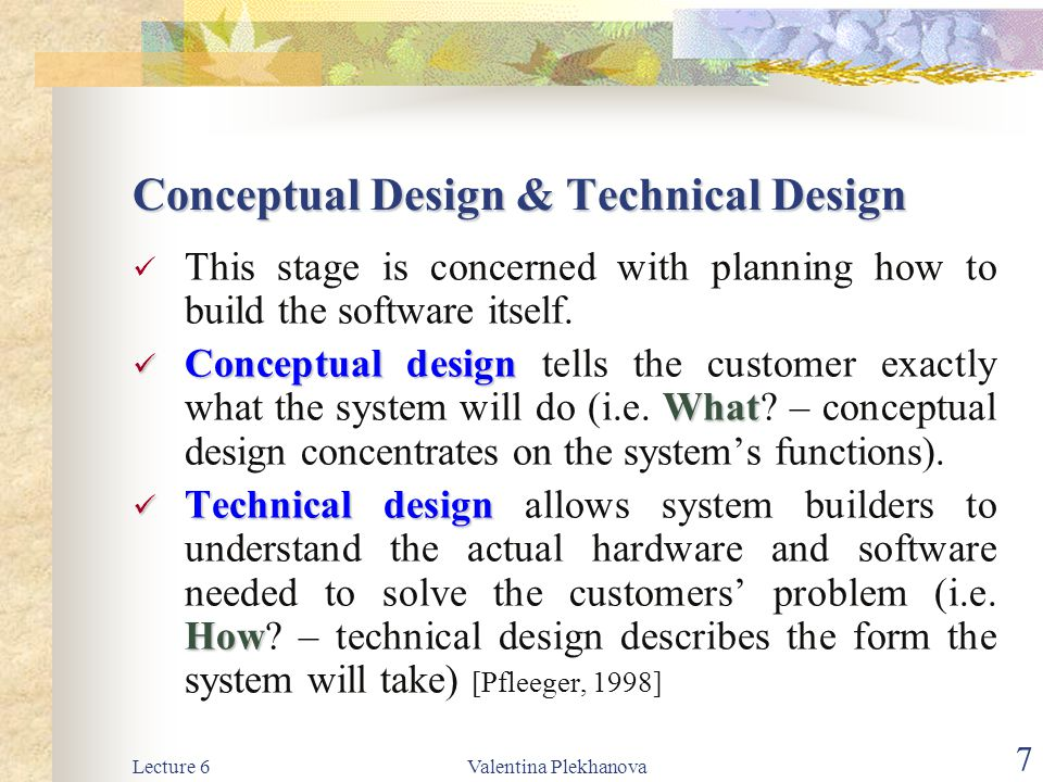 Conceptual Design & Technical Design