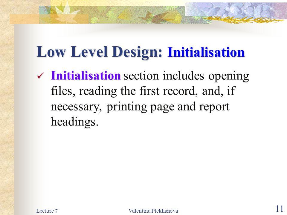 Low Level Design: Initialisation