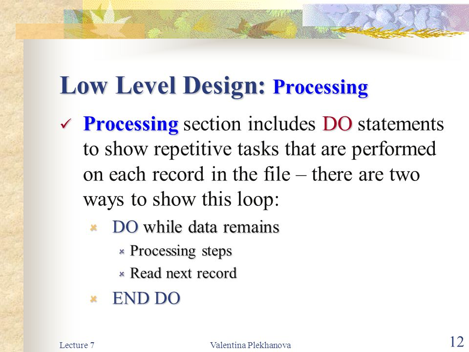 Low Level Design: Processing