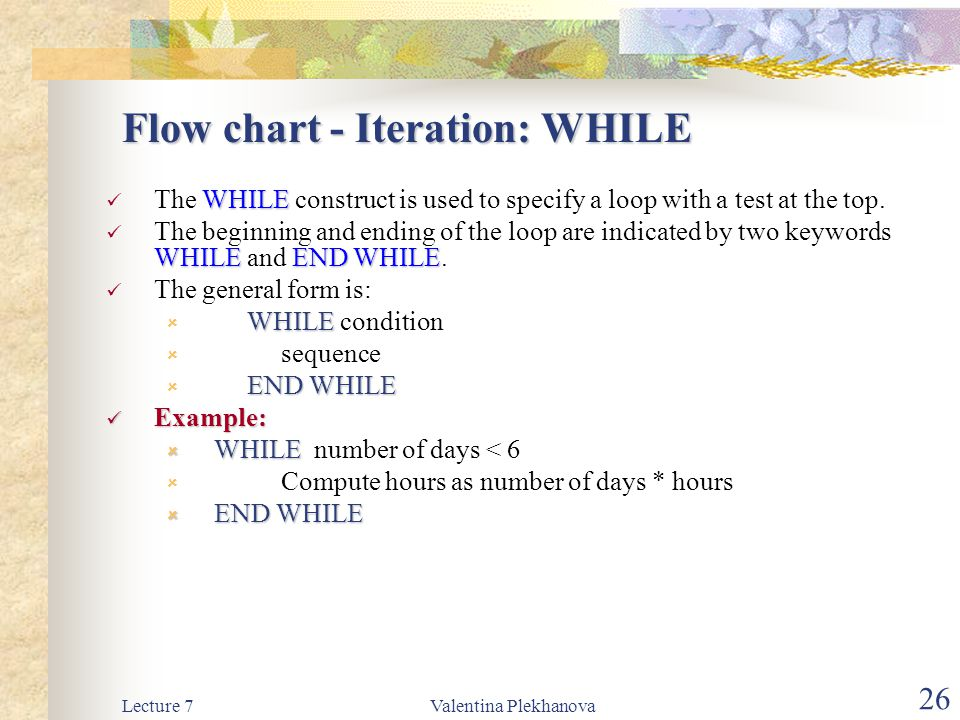 Flow chart - Iteration: WHILE