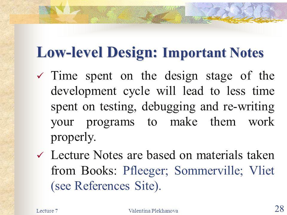 Low-level Design: Important Notes