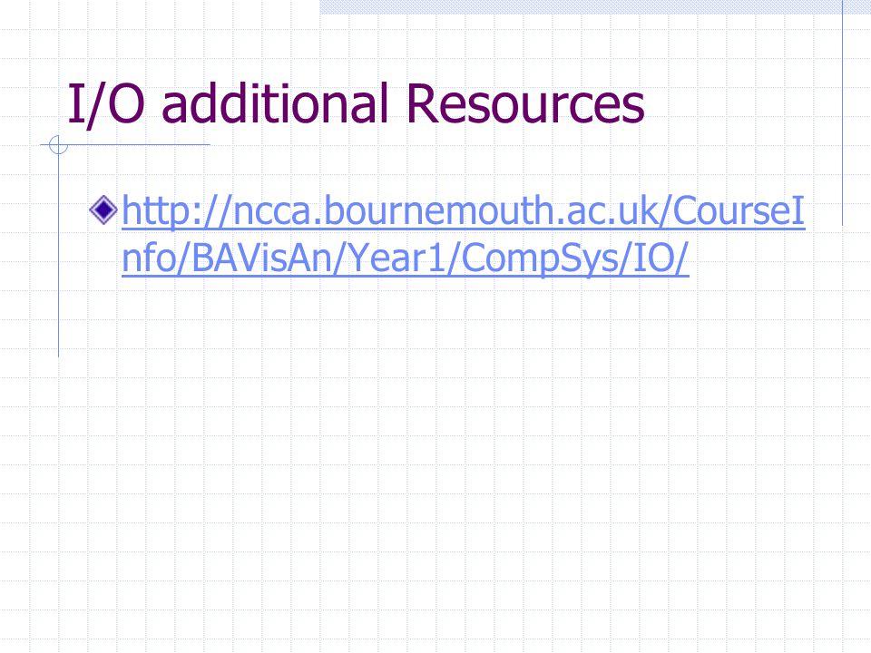 I/O additional Resources