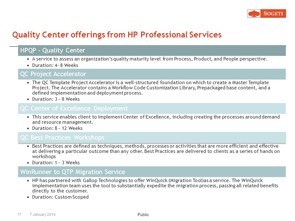 Quality Center offerings from HP Professional Services