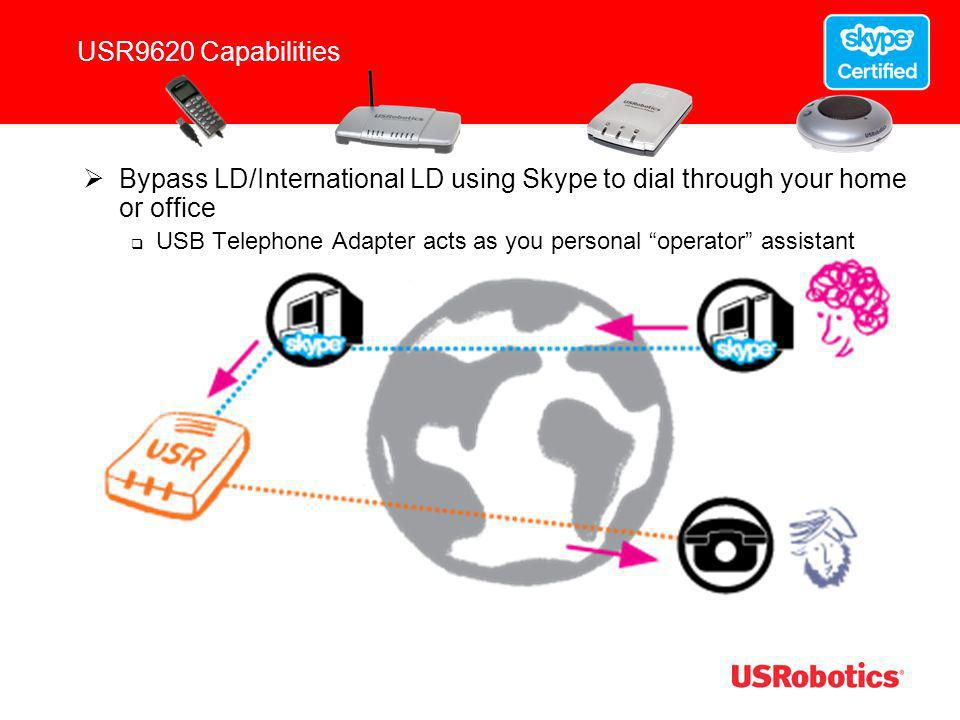 USR9620 Capabilities Bypass LD/International LD using Skype to dial through your home or office.