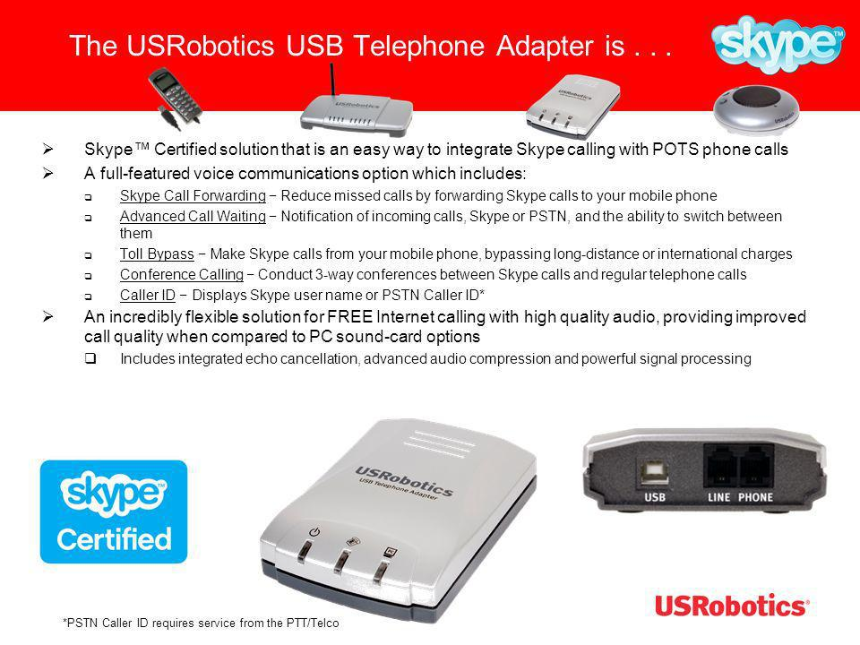 The USRobotics USB Telephone Adapter is . . .