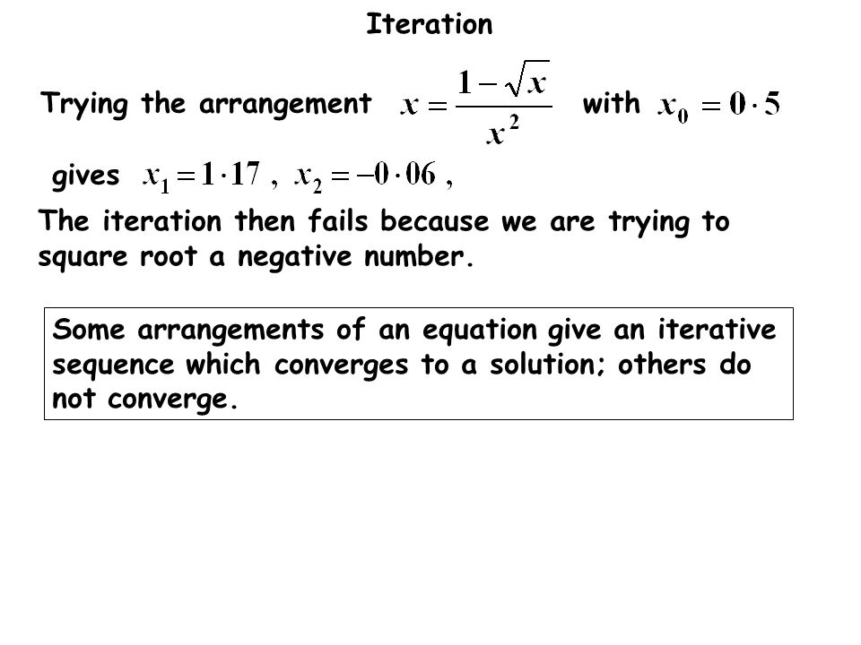 gives Trying the arrangement with. The iteration then fails because we are trying to square root a negative number.