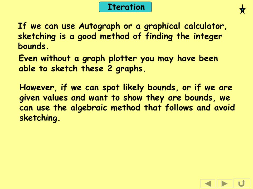 If we can use Autograph or a graphical calculator, sketching is a good method of finding the integer bounds.
