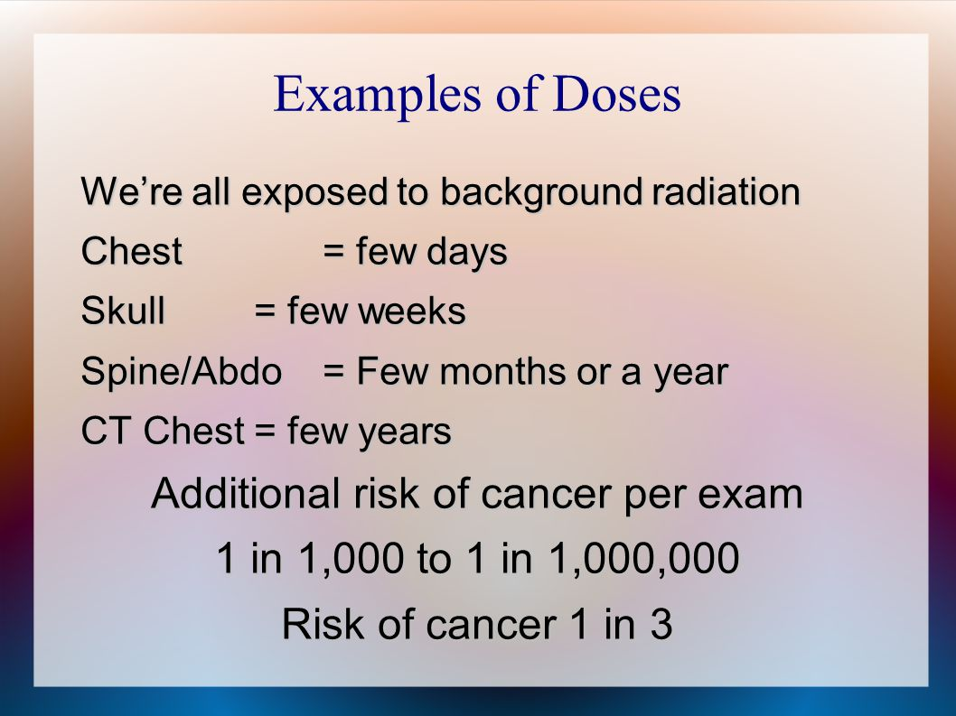 Additional risk of cancer per exam