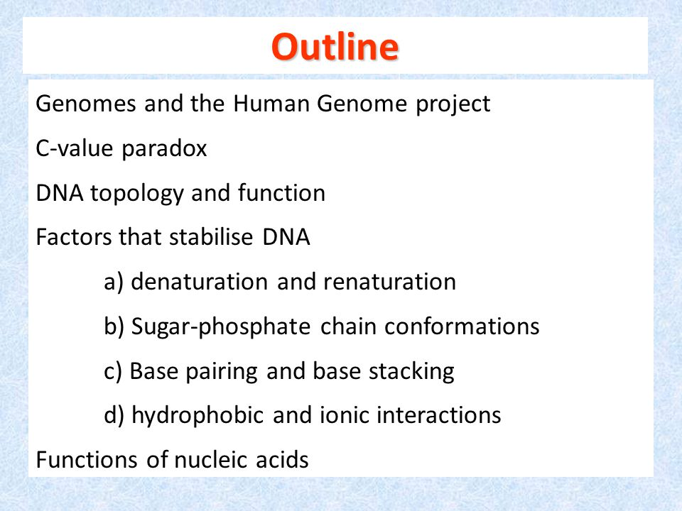 Outline Genomes and the Human Genome project C-value paradox