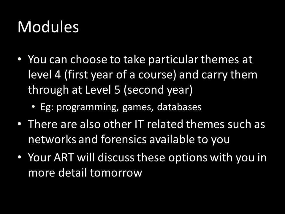 Modules You can choose to take particular themes at level 4 (first year of a course) and carry them through at Level 5 (second year)