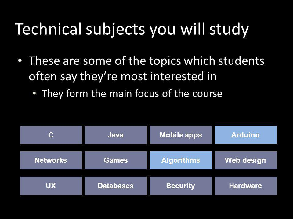 Technical subjects you will study