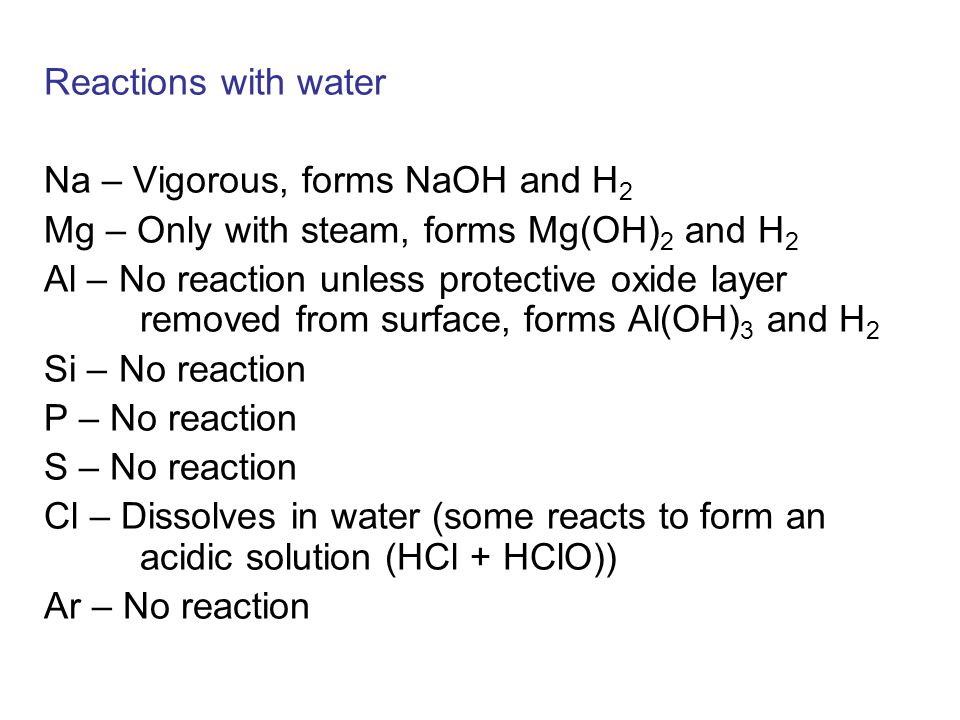 Reactions with water Na – Vigorous, forms NaOH and H2. Mg – Only with steam, forms Mg(OH)2 and H2.