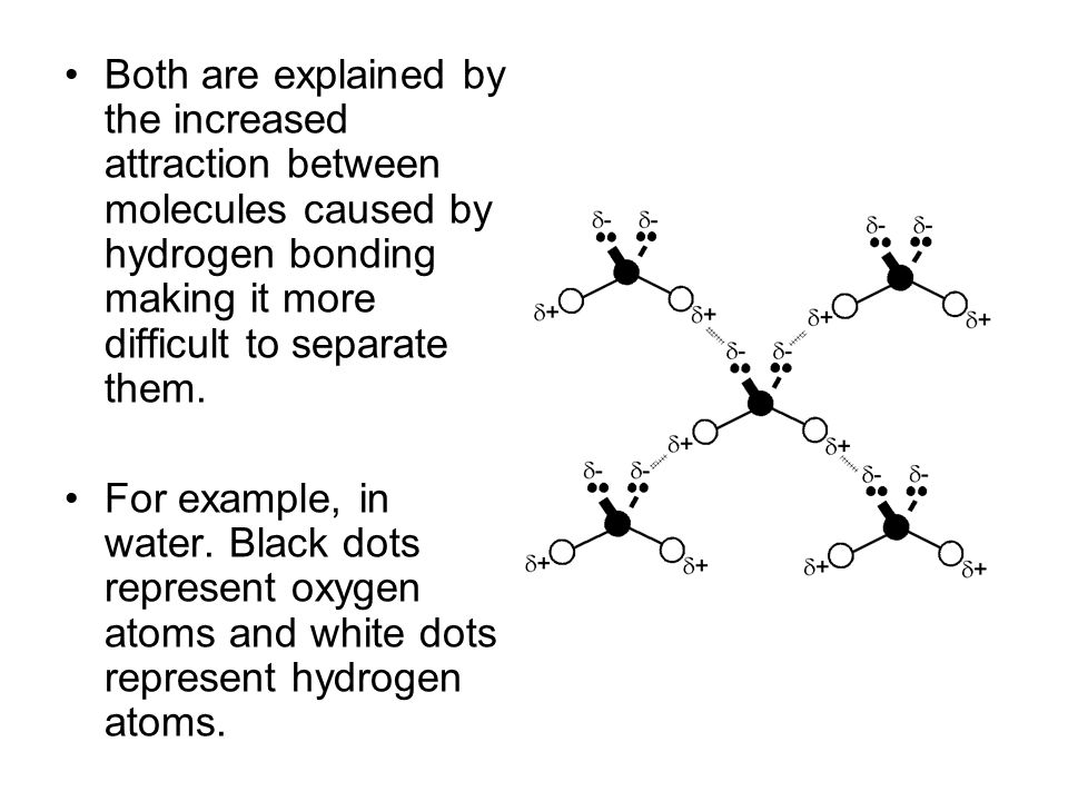 Both are explained by the increased attraction between molecules caused by hydrogen bonding making it more difficult to separate them.