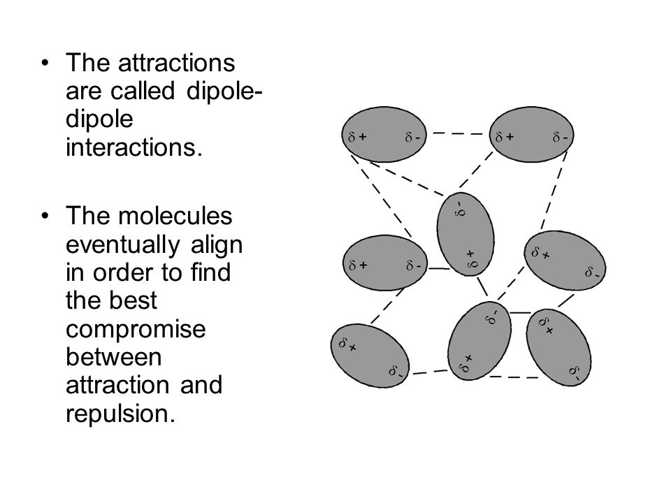 The attractions are called dipole-dipole interactions.