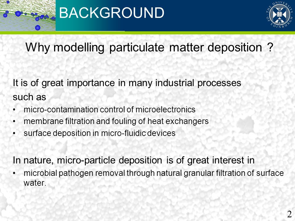 Why modelling particulate matter deposition